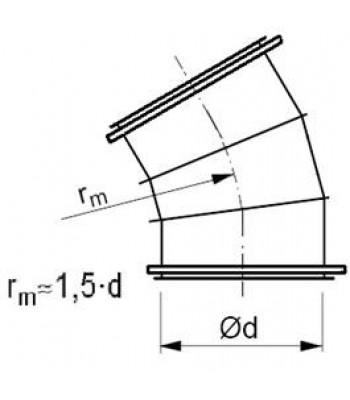 Līkums segmenta R-1,5d 30°, ar flančiem