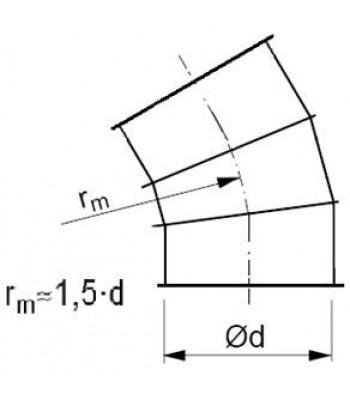 Līkums segmenta R-1,5d 30°, ar atloku