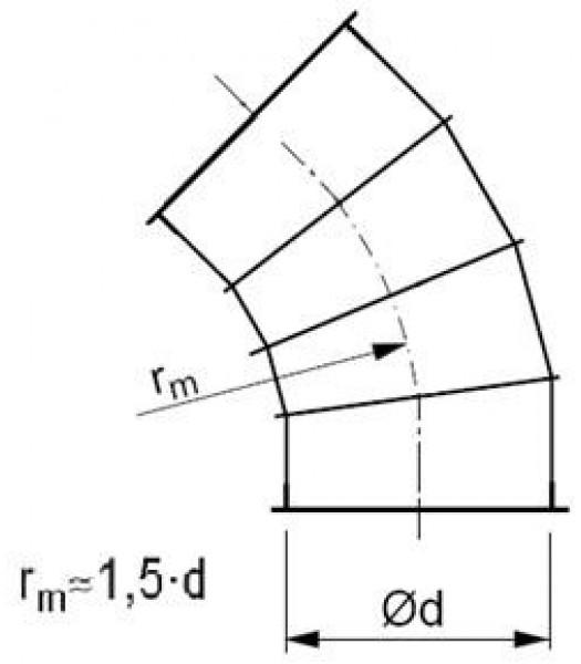 Līkums segmenta R-1,5d 45°, ar atloku