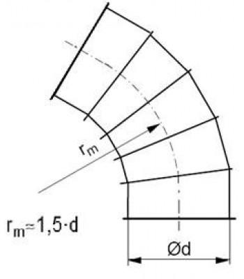 Līkums segmenta R-1,5d 60°, ar atloku