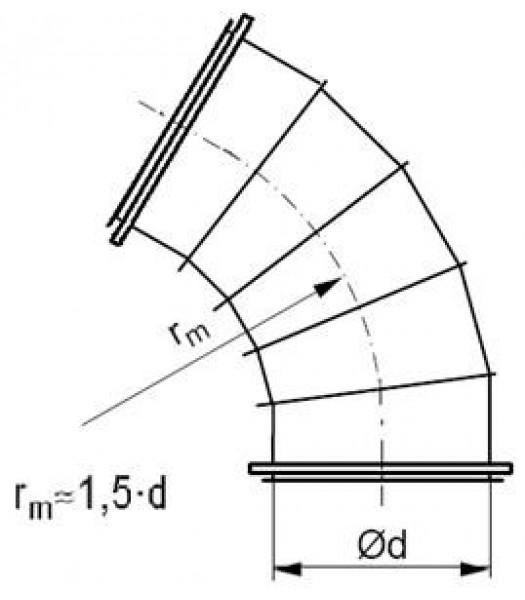 Līkums segmenta R-1,5d 60°, ar flančiem