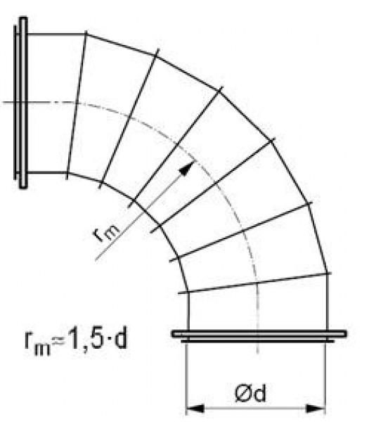Līkums segmenta R-1,5d 90°, ar flančiem