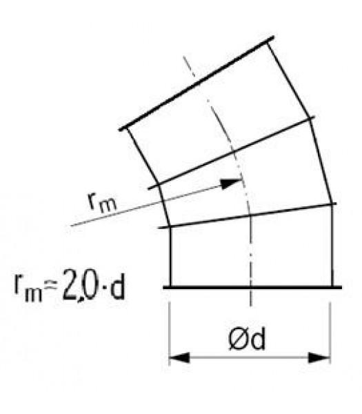 Līkums segmenta R-2,0d 45°, ar atloku