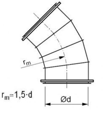 Līkums segmenta R-1,5d 45°, ar flančiem