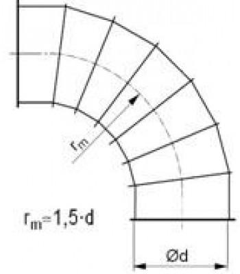 Līkums segmenta R-1,5d 90°, ar atloku