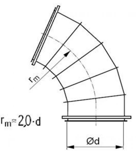 Līkums segmenta R-2,0d 60°, ar flančiem